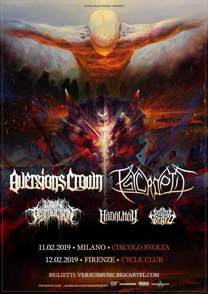 AVERSIONS CROWN - PSYCROPTIC tour