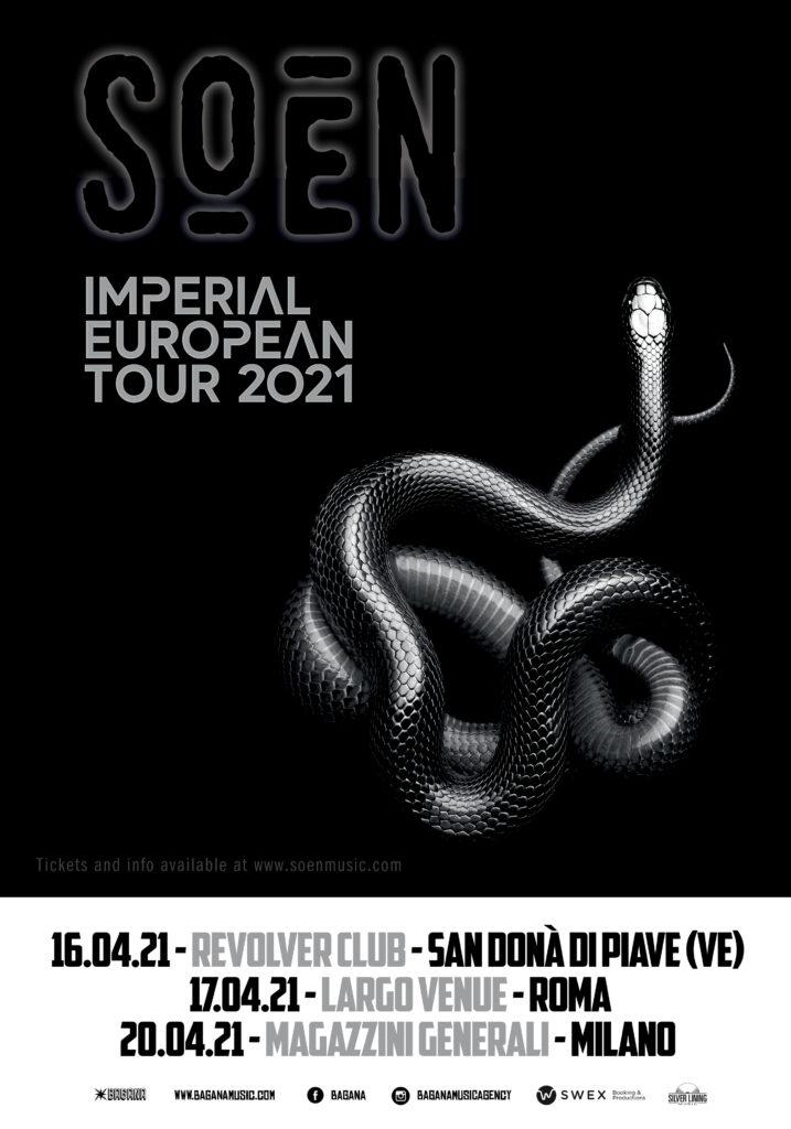 SOEN - Tre concerti esclusivi ad aprile 2021 con il nuovo album 'Imperial' in uscita a gennaio.