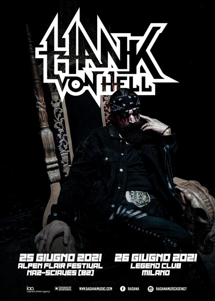 HANK VON HELL - Prima volta da solista in Italia per l'ex voce dei TURBONEGRO. Due concerti a giugno 2021