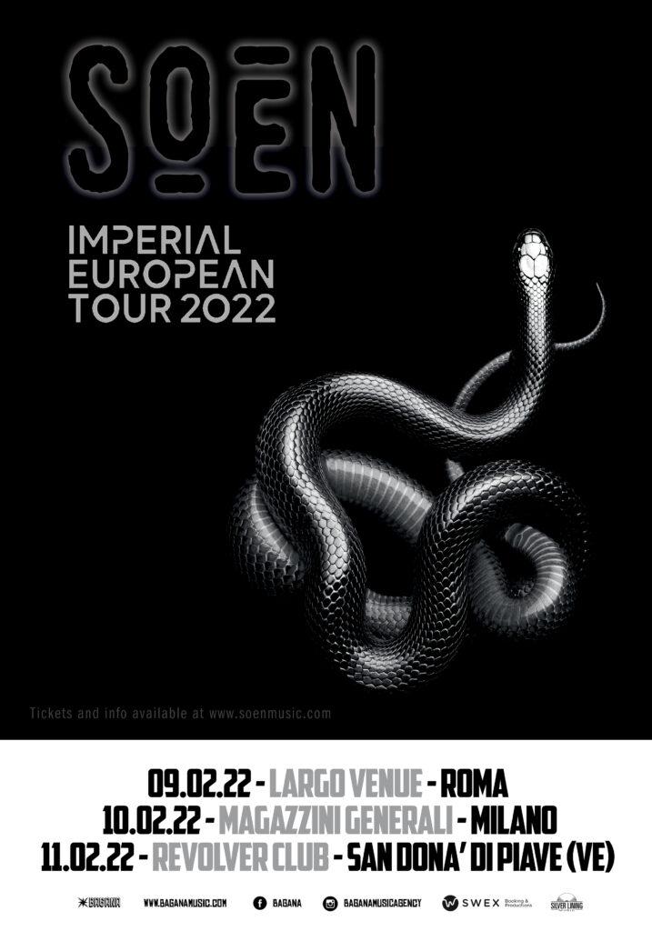 SOEN - Posticipati a febbraio 2022 i TRE CONCERTI ESCLUSIVI italiani con l'album in uscita 'IMPERIAL'